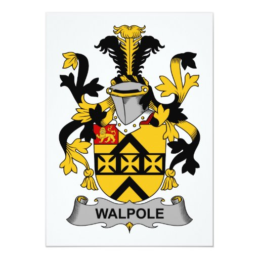 """Escudo de la familia de Walpole Invitación 5"""" X 7"""""""