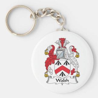 Escudo de la familia de Walsh Llavero Redondo Tipo Pin
