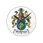 Escudo de la familia de Waltman Reloj De Pared