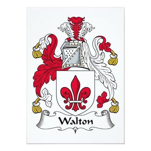 Escudo de la familia de Walton Invitación 12,7 X 17,8 Cm