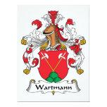 Escudo de la familia de Wartmann Invitación 16,5 X 22,2 Cm