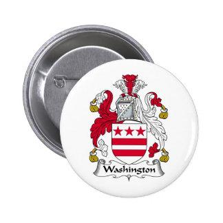 Escudo de la familia de Washington Pin Redondo De 2 Pulgadas