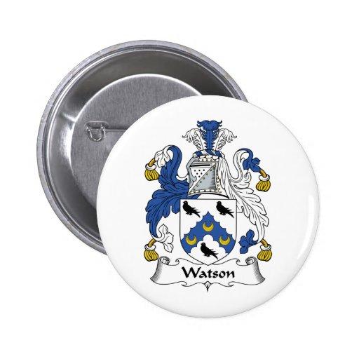 Escudo de la familia de Watson Pin Redondo De 2 Pulgadas