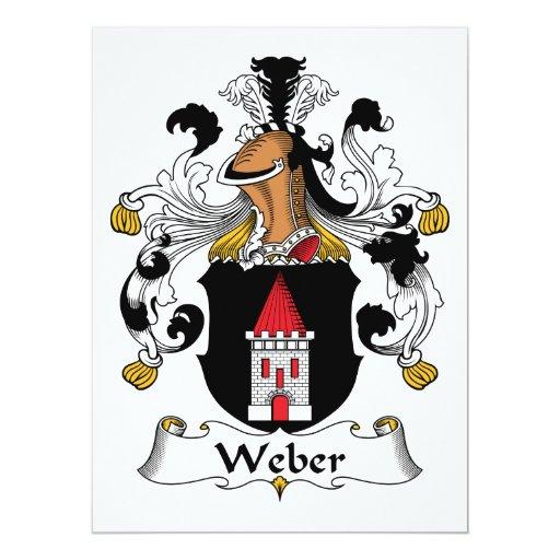 Escudo de la familia de Weber Invitación 16,5 X 22,2 Cm