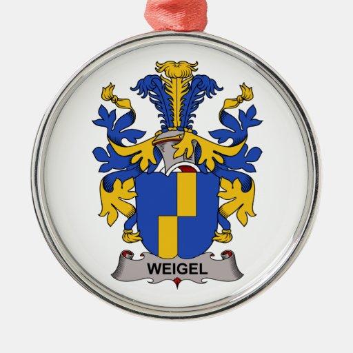 Escudo de la familia de Weigel Adorno Redondo Plateado