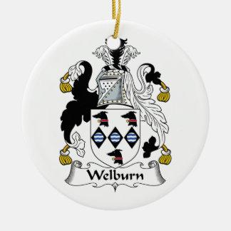 Escudo de la familia de Welburn Adorno Navideño Redondo De Cerámica