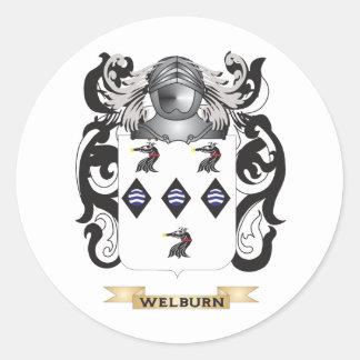 Escudo de la familia de Welburn (escudo de armas) Pegatina Redonda