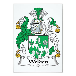 """Escudo de la familia de Weldon Invitación 5"""" X 7"""""""