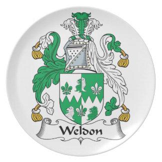 Escudo de la familia de Weldon Plato De Cena