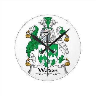 Escudo de la familia de Weldon Reloj Redondo Mediano