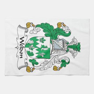Escudo de la familia de Weldon Toalla De Cocina