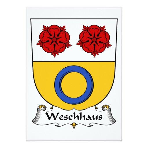 Escudo de la familia de Weschhaus Invitación 12,7 X 17,8 Cm