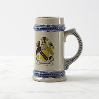 Escudo de la familia de Weymouth Jarra De Cerveza