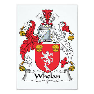 """Escudo de la familia de Whelan Invitación 5"""" X 7"""""""