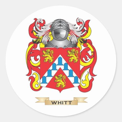 Escudo de la familia de Whitt (escudo de armas) Etiquetas Redondas