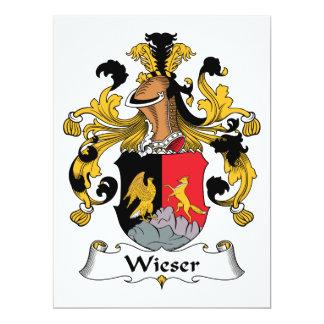 Escudo de la familia de Wieser Invitación 16,5 X 22,2 Cm