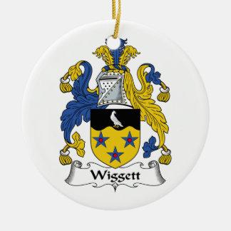 Escudo de la familia de Wiggett Adorno Redondo De Cerámica