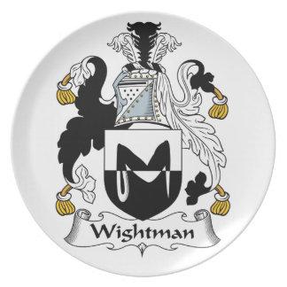 Escudo de la familia de Wightman Platos De Comidas