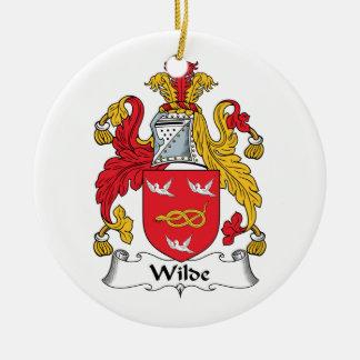 Escudo de la familia de Wilde Adorno Navideño Redondo De Cerámica