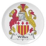 Escudo de la familia de Wilkes Platos