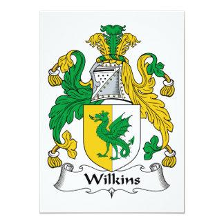 """Escudo de la familia de Wilkins Invitación 5"""" X 7"""""""