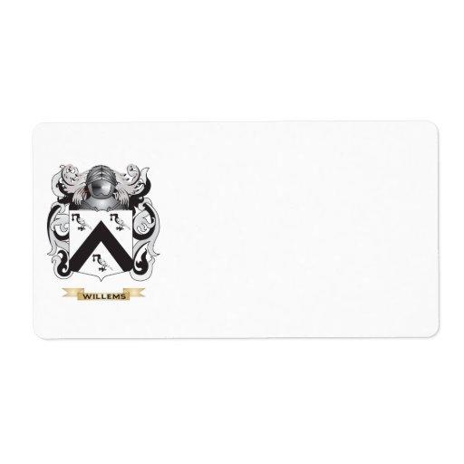 Escudo de la familia de Willems (escudo de armas) Etiquetas De Envío