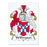 Escudo de la familia de Willington Invitación 12,7 X 17,8 Cm