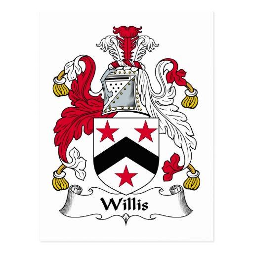 Escudo de la familia de Willis Tarjetas Postales