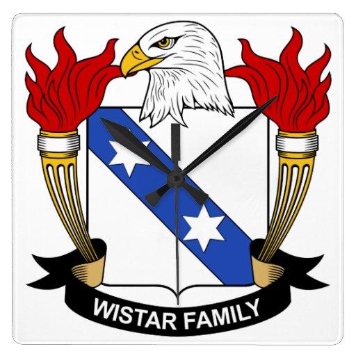 Escudo de la familia de Wistar Reloj Cuadrado