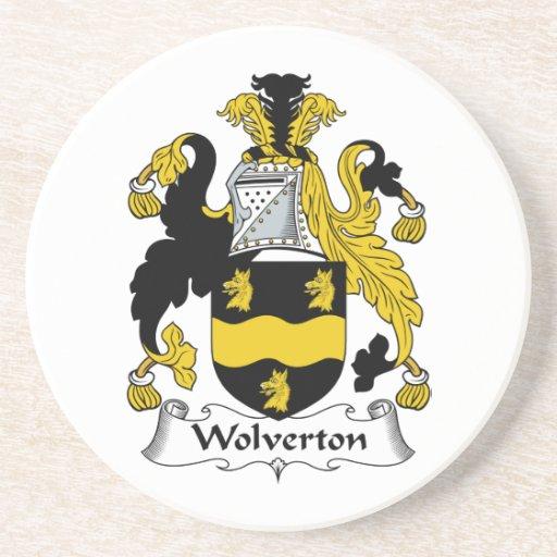 Escudo de la familia de Wolverton Posavasos Cerveza