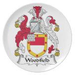 Escudo de la familia de Woodfield Plato Para Fiesta