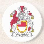 Escudo de la familia de Woodfield Posavasos Cerveza