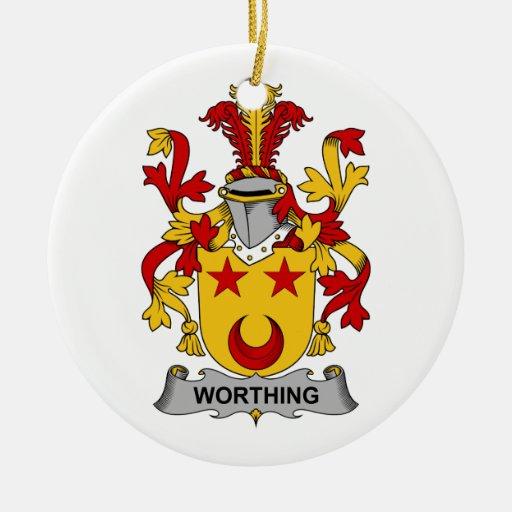 Escudo de la familia de Worthing Adorno Redondo De Cerámica