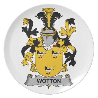 Escudo de la familia de Wotton Plato De Comida
