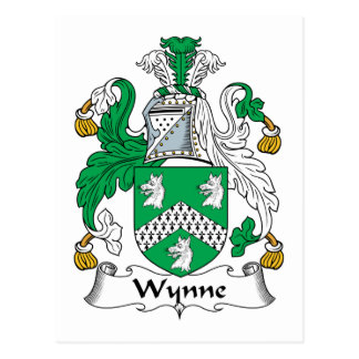 Escudo de la familia de Wynne Tarjeta Postal