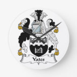 Escudo de la familia de Yates Reloj De Pared