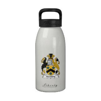 Escudo de la familia de Yawkins Botella De Agua