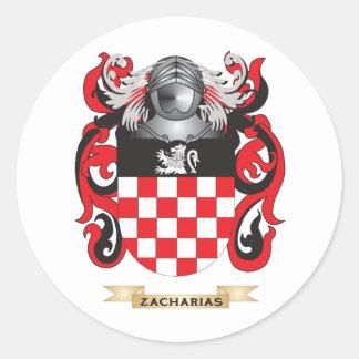 Escudo de la familia de Zacharias escudo de armas Etiquetas Redondas