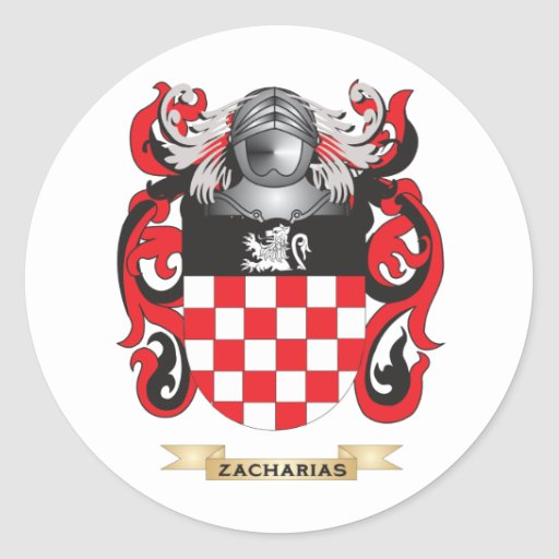 Escudo de la familia de Zacharias (escudo de armas Etiquetas Redondas
