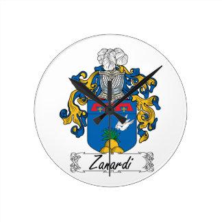 Escudo de la familia de Zanardi Reloj De Pared