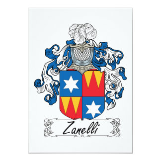 """Escudo de la familia de Zanelli Invitación 5"""" X 7"""""""