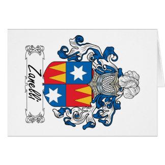 Escudo de la familia de Zanelli Tarjeta De Felicitación