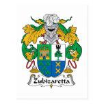 Escudo de la familia de Zubizaretta Tarjeta Postal