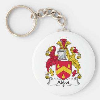 Escudo de la familia del abad llavero redondo tipo pin