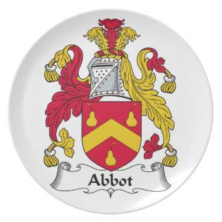 Escudo de la familia del abad plato de comida
