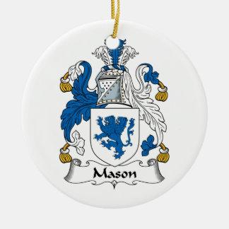 Escudo de la familia del albañil adorno navideño redondo de cerámica