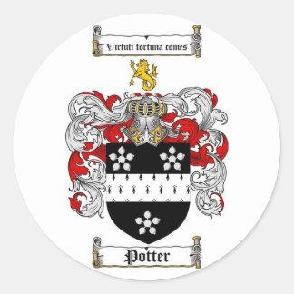Escudo de la familia del alfarero pegatina redonda