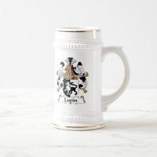 Escudo de la familia del altramuz jarra de cerveza