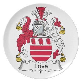 Escudo de la familia del amor platos de comidas