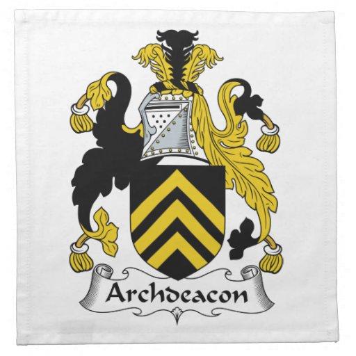Escudo de la familia del arcediano servilletas imprimidas